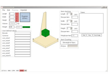 dimensional weighing software user interface