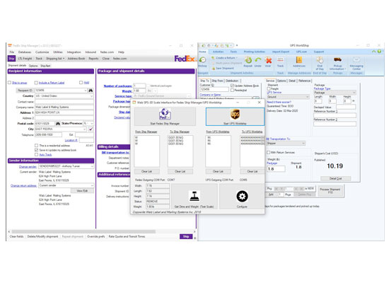 fedex and ups carrier interfaces to dimensional weighing